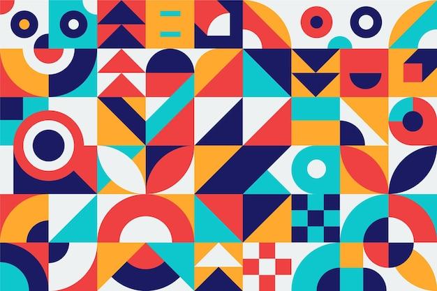 抽象的な幾何学的形状カラフルなデザイン 無料ベクター