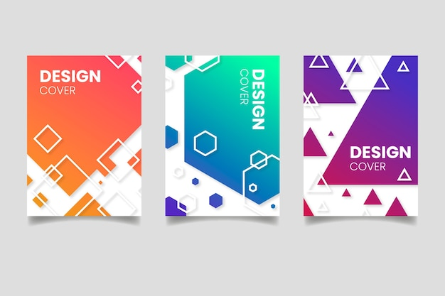 Abstract geometric shapes covers Free Vector