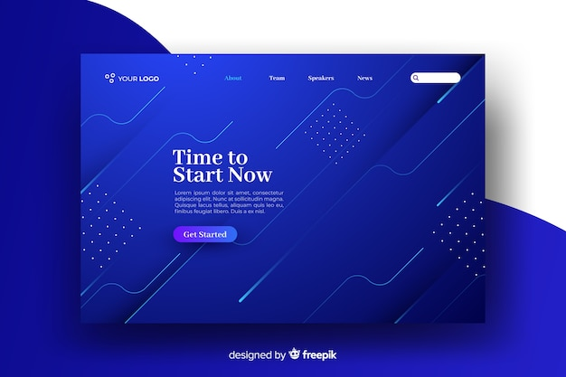 Abstract geometric shapes landing page template Free Vector