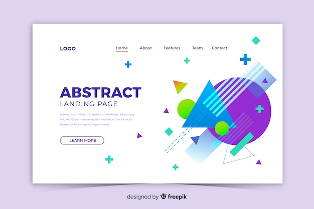 Abstract geometric shapes landing page Free Vector