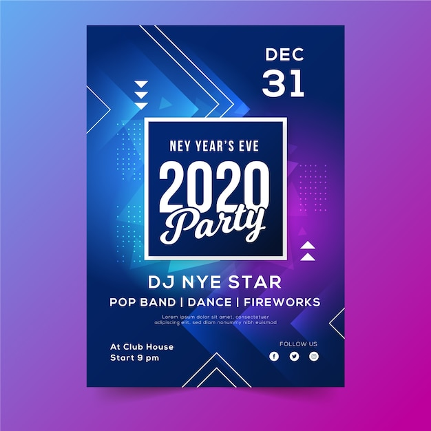 新年2020年ポスターの抽象的な幾何学的図形 無料ベクター