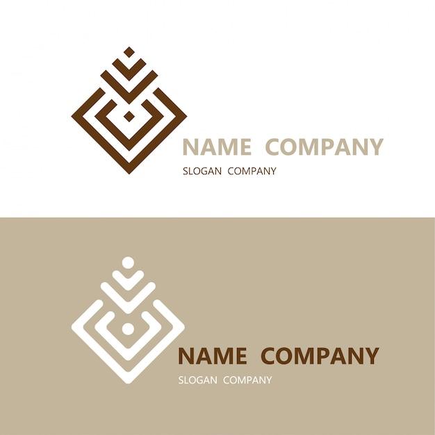 Абстрактный геометрический квадратный элемент дизайна с логотипом шаблона визитной карточки Premium векторы