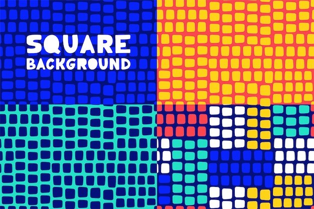 Abstract geometric square pattern background set for business brochure cover design. Premium Vector