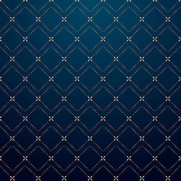Abstract geometric squares gold dash line pattern Premium Vector