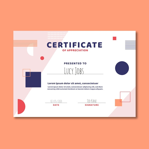 Abstract geometric template certificate Free Vector