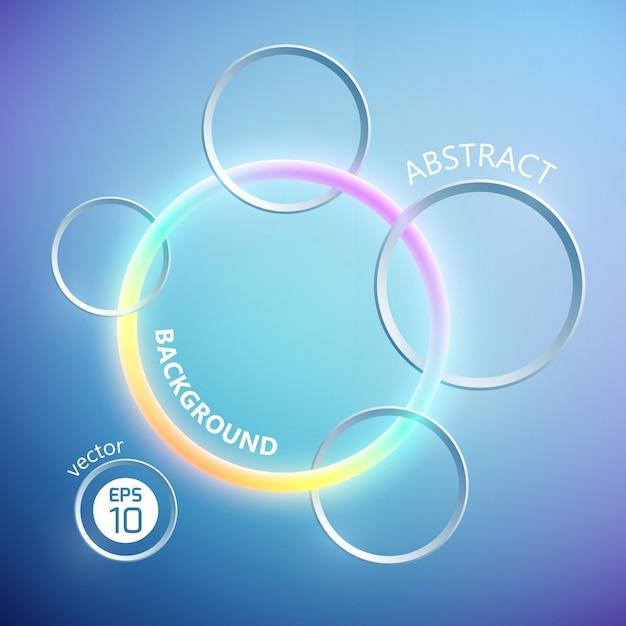 Абстрактный геометрический шаблон с красочным неоновым кольцом и серыми металлическими кругами на голубом фоне Бесплатные векторы