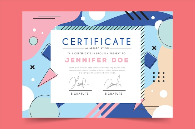 Abstract geometric theme for certificate template Free Vector