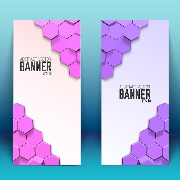 Абстрактные геометрические вертикальные баннеры с яркими шестиугольниками Бесплатные векторы