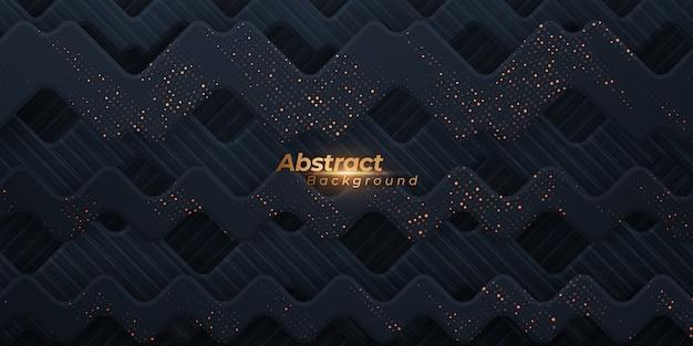 金色のドットと抽象的な幾何学的な波状の背景。 Premiumベクター