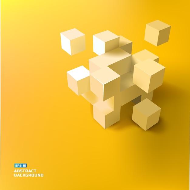 灰色の3dの立方体と正方形のイラストで幾何学的な抽象的な 無料ベクター