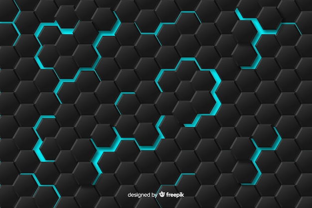 Abstract geometrical pattern with blue lights Free Vector