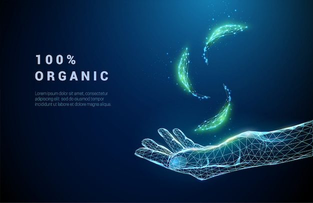 Abstract giving hand with falling green leafs. low poly style design. blue geometric background. wireframe light connection structure. modern  graphic ecology concept. isolated Premium Vector