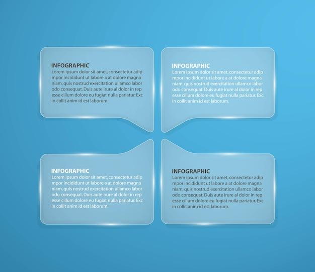 正方形の形で抽象的なガラスのインフォグラフィックデザインテンプレート。 Premiumベクター