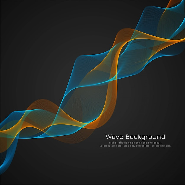 Abstract glossy colorful wave dark background Free Vector