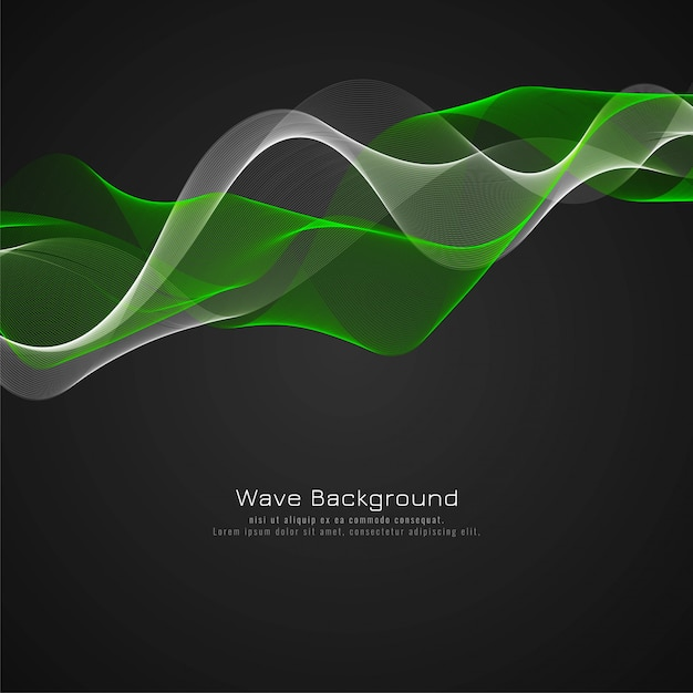 Abstract glossy green wave background design Free Vector