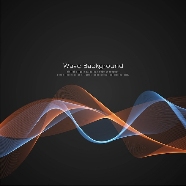 Abstract glossy wave dark background Free Vector