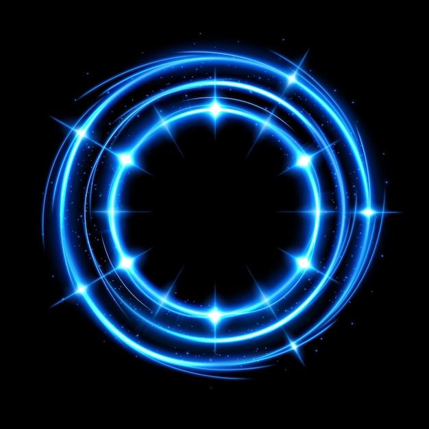 背景が透明で、孤立していて編集しやすい抽象的な光る円。 Premiumベクター