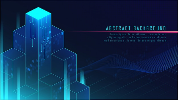 Abstract glowing futuristic blocks background Premium Vector