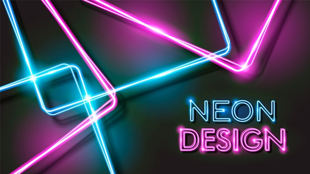 Abstract glowing neon black background design Premium Vector