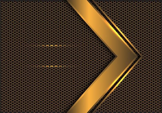 抽象的なゴールド矢印方向六角形メッシュバックグラウンド。 Premiumベクター