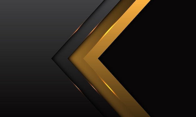 Abstract gold arrow direction with grey metallic with black blank space design modern luxury futuristic background Premium Vector