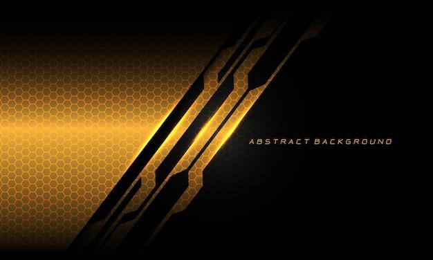 抽象的なゴールドブラックサイバーサーキットライン六角形メッシュパターンテクスチャ Premiumベクター