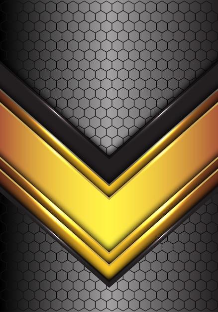 六角形の抽象的な金色の黒い線の矢印は、未来的な背景メッシュ。 Premiumベクター