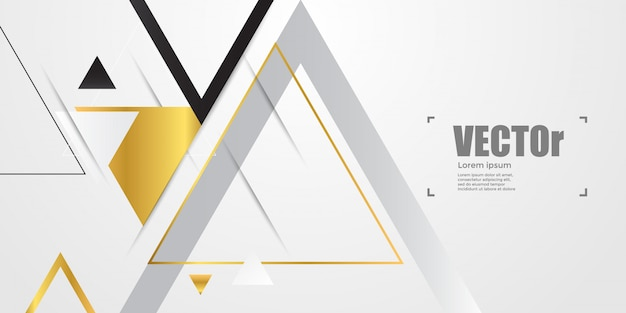 Abstract gold geometric background with triangles. Premium Vector