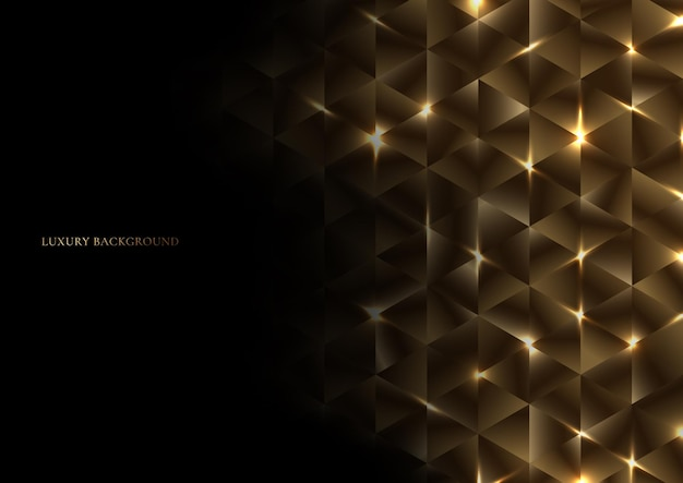 Abstract gold geometric triangle shape luxury pattern with lighting on black background. Premium Vector