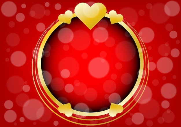 Abstract gold hearts and circle for valentines day background Premium Vector