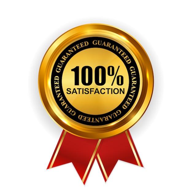 抽象ゴールドラベル100満足度テンプレート Premiumベクター