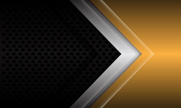 Abstract gold silver arrow direction on black metallic circle mesh design modern futuristic background vector illustration. Premium Vector