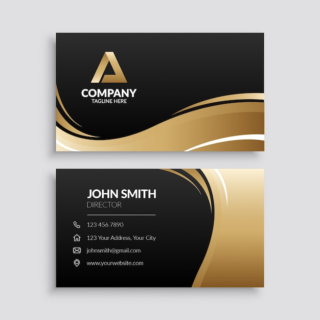 Abstract gold wave business card template Premium Vector