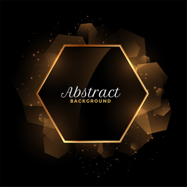 Abstract golden and black hexagonal frame background Free Vector