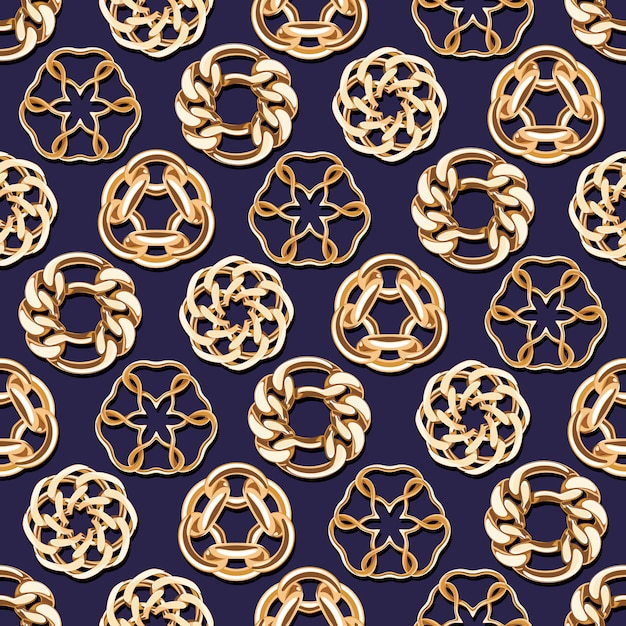 Abstract golden chains circles seamless background. luxury jewelry pattern  illustration. Premium Vector