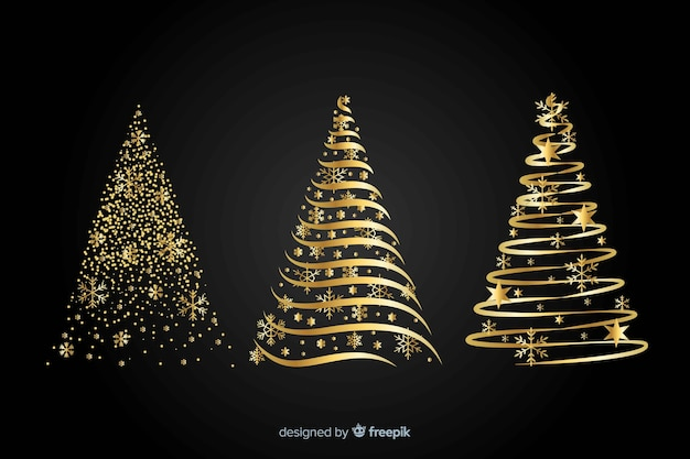 Abstract golden christmas tree concept Free Vector