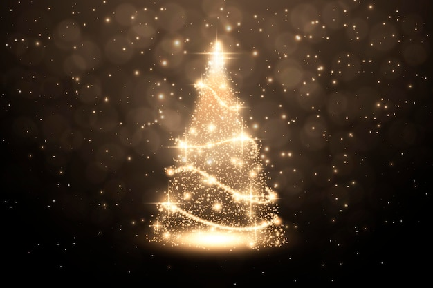 Abstract golden christmas tree Free Vector