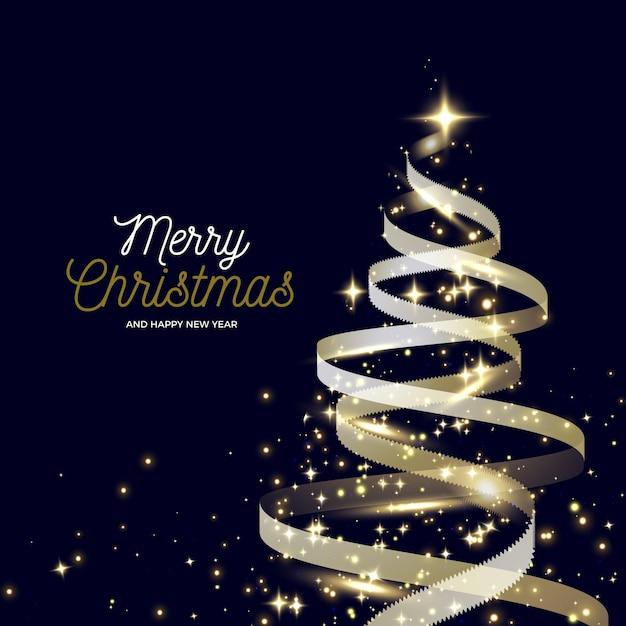 抽象的な黄金のクリスマスツリー 無料ベクター