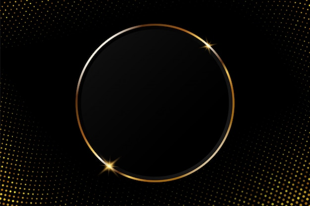 Abstract golden circular frame with sparkling light on a modern black background Premium Vector