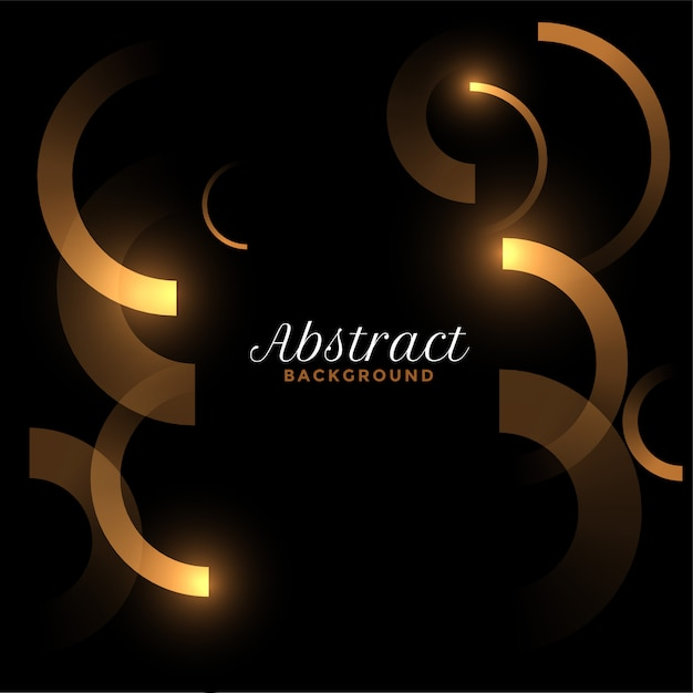 Abstract golden curves lines on black background Free Vector
