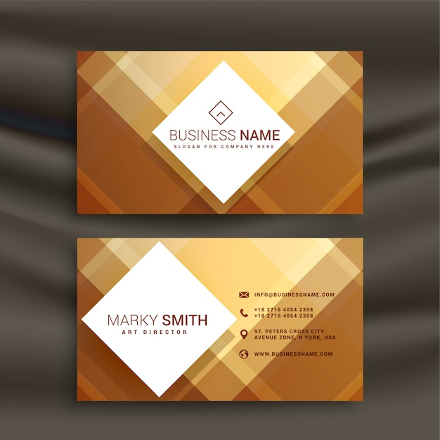 Abstract golden geometric business card template Free Vector
