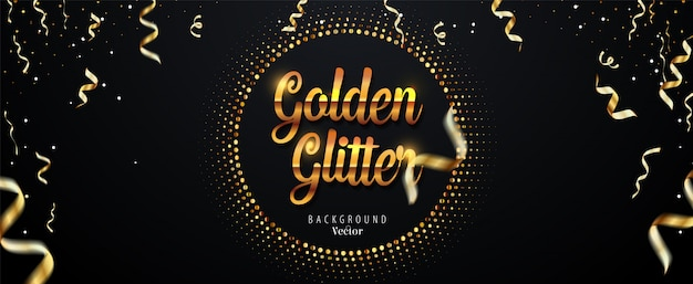 Abstract golden glitter background with falling ribbons Premium Vector