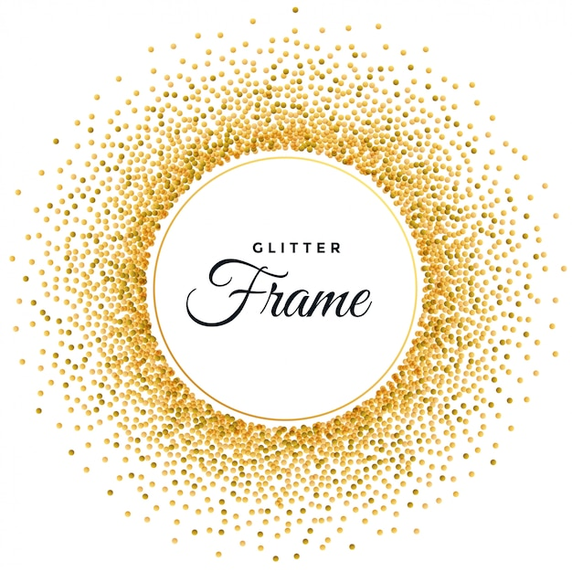 Abstract golden glitter frame background Free Vector