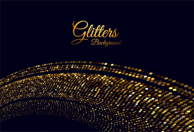 Abstract golden glitters stylish wave on black Free Vector