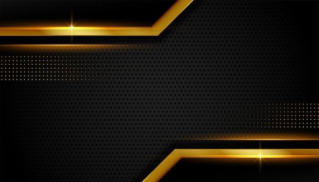 抽象的なゴールデンライン高級暗い背景デザイン 無料ベクター