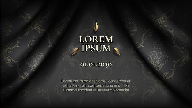 波状の滑らかな黒い絹の布のカーテンの背景に抽象的な黄金の伝統的なタイパターン Premiumベクター