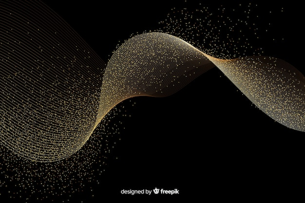 Абстрактная золотая волна на темном фоне Бесплатные векторы