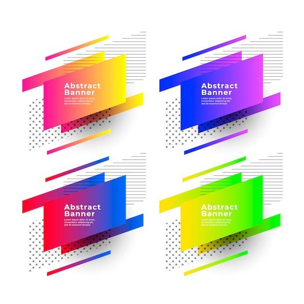 Abstract gradient banners with geometric shapes Free Vector