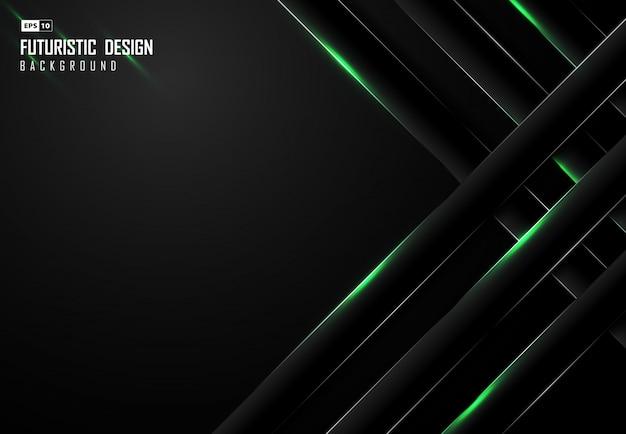 長方形のデザインと抽象的なグラデーション黒背景 Premiumベクター