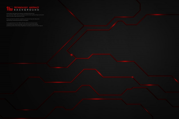 Premium Vector Abstract Gradient Black Technology On Red Line Background